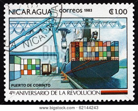 Postage Stamp Nicaragua 1983 Port Of Corinto