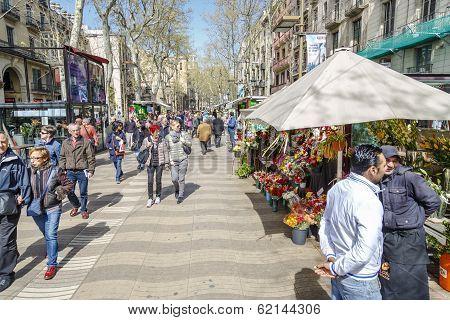 La Rambla Street, In Barcelona