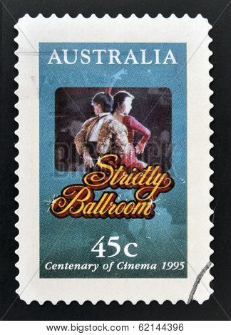 A stamp printed in Australia commemorating centenary of cinema shows film strictly ballroom