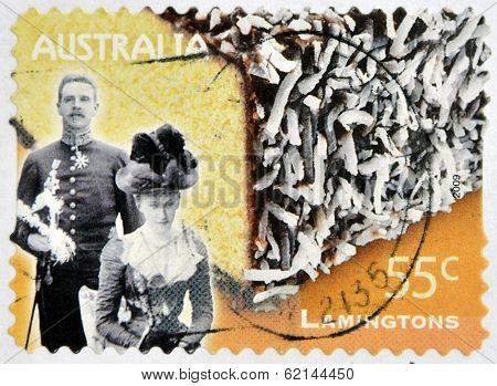 AUSTRALA - CIRCA 2009: A stamp printed in australia shows Lord and Lady Lamington and a lamington