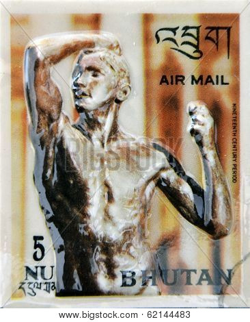 Stamp printed in Bhutan dedicated to History of Sculpture shows sculpture of nineteenth century