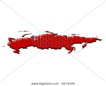 Russia 3D Map With National Color