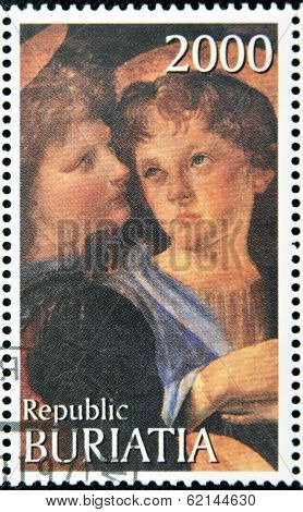 BURYATIA - CIRCA 1990: A stamp printed in Buryatia shows picture of Verrocchio & Leonardo