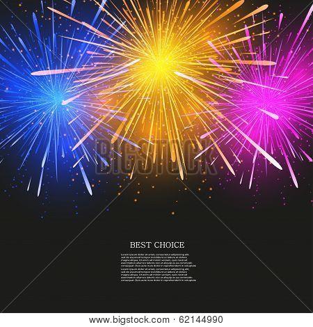 Vector creative fireworks modern background