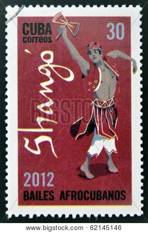 CUBA - CIRCA 2012: Stamp printed in Cuba dedicated to Afro-Cuban dance and Yoruba gods shows Shango