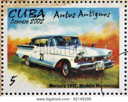 stamp printed in Cuba dedicated to retro car shows Mercury 1957 Monterrey model