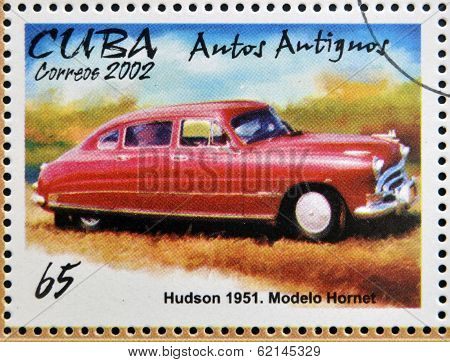 stamp printed in Cuba dedicated to retro car shows Hudson 1951 Hornet model