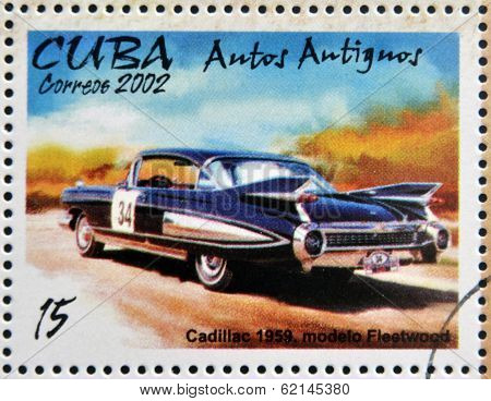 stamp printed in Cuba dedicated to retro car shows Cadillac 1959 Fleetwood model