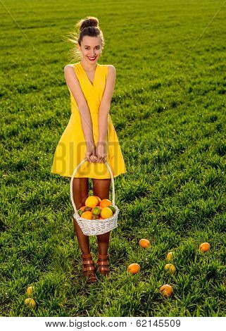 Young Woman With Basket Full Of Fruits Smiling On Greenfield Of Grass In Yellow Dress
