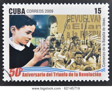 A stamp printed in cuba dedicated to 50 anniversary of the triumph of the revolution