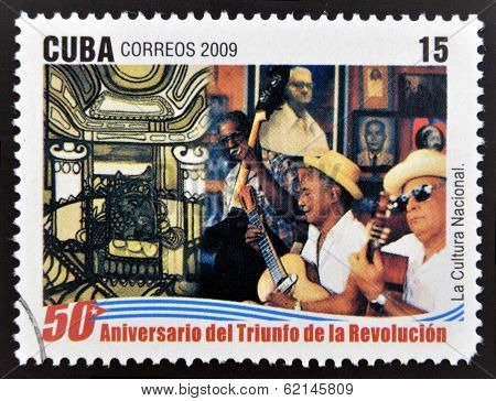 stamp 50 anniversary of the triumph of the revolution shows national culture