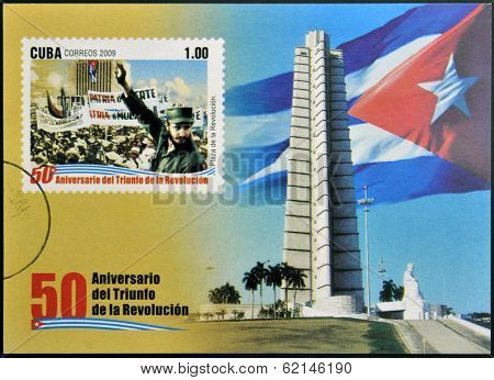 stamp 50 anniversary of the triumph of the revolution shows Fidel Castro in the Revolution Square