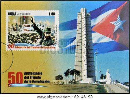 stamp 50 anniversary of the triumph of the revolution shows Fidel Castro in the Revolution Square