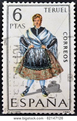 A stamp printed in Spain dedicated to Provincial Costumes shows a woman from Teruel