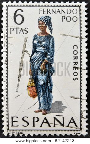 A stamp printed in Spain dedicated to Provincial Costumes shows a woman from Fernando Poo
