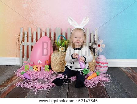 sweet girl posing for easter