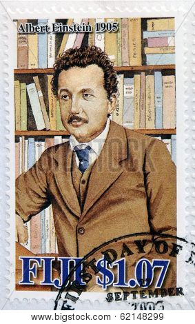 A stamp printed in Fiji Islands commemorating the centenary of Albert Einstein
