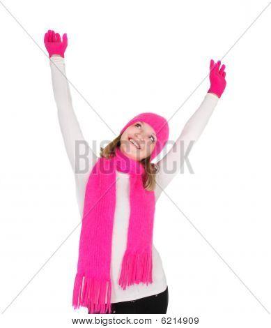 attraktive Mädchen in hell Mütze und Schal über white