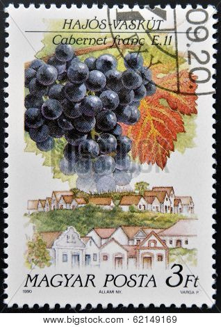 A stamp printed in Hungary shows Cabernet Franc Grapes Hajos-Vaskut