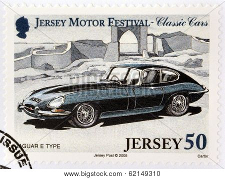 Stamp printed in Jersey dedicated to classic cars shows Jaguar E Type