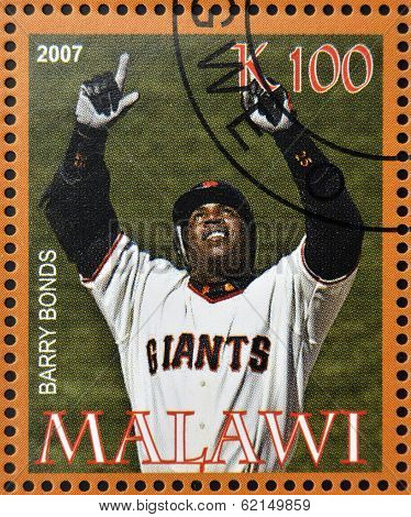 stamp printed in Malawi dedicated to greatest baseball players shows Barry Bonds