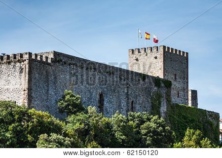 Meval castle tower and Church of San Vicente de la Barquera Cantabria Spain