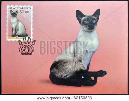 stamp printed in New Zealand shows Domestic Cat Siamese