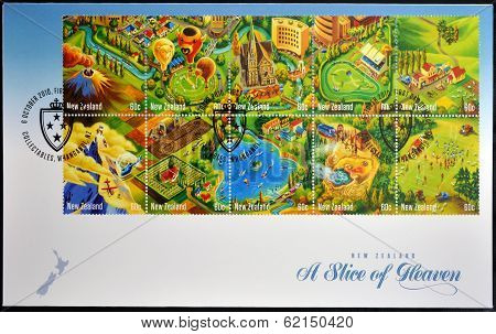 Stamps printed in New Zealand shows a slice of heaven
