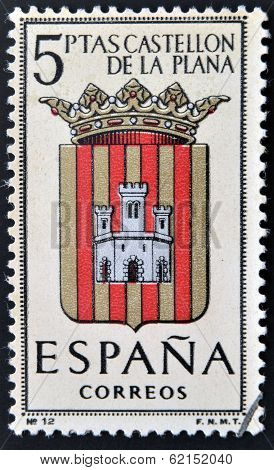 A stamp printed in Spain dedicated to Arms of Provincial Capitals shows Castellon