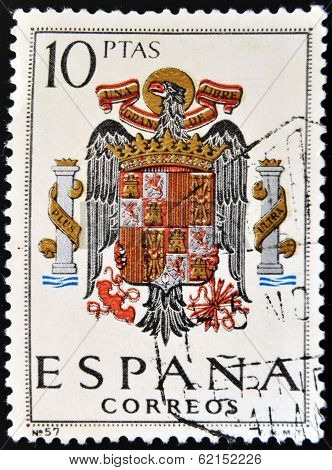 A stamp printed in Spain shows shield of Spain during the Franco dictatorship