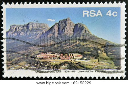 A stamp printed in RSA shows University of Cape Town