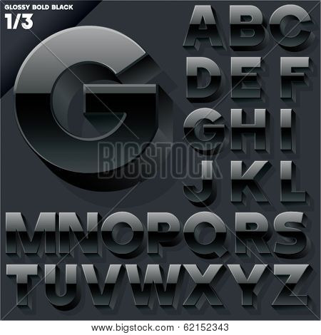 Vector alphabet of simple 3d glossy letters. Sans bold.  Black Upper cases