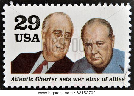 stamp shows president Franklin D. Roosevelt and sir Winston Churchill in the Second World War