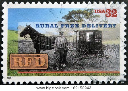 A stamp printed in USA shows Rural Free Delivery