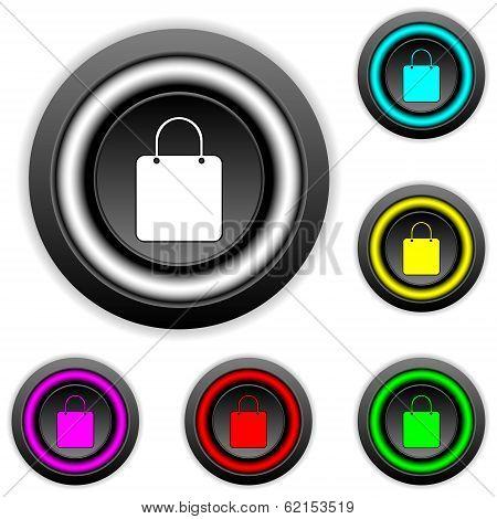 Shopping Bag Buttons Set