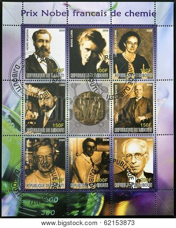 Collection stamp shows French Nobel chemistry prize