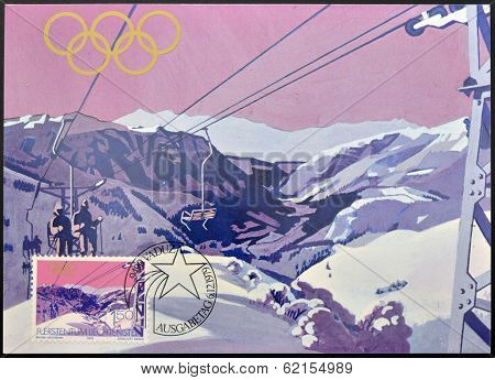 stamp dedicated to winter olympics at Lake Placid 1980 shows sareis chair lift