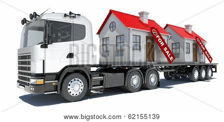 Truck carries two houses