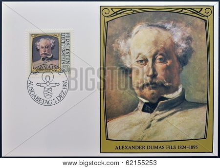 stamp dedicated to portraits of famous visitors to Liechtenstein shows Alexandre Dumas (fils)