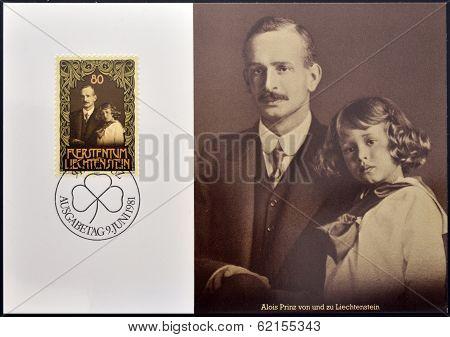 A stamp printed in Liechtenstein shows Prince Franz Josef with his father