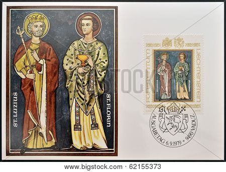 stamp dedicated to Patron Saints of Liechtenstein shows St Luzius and St Florin