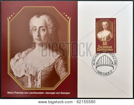 stamp printed in Liechtenstein shows Maria Theresia duchess of Savoy