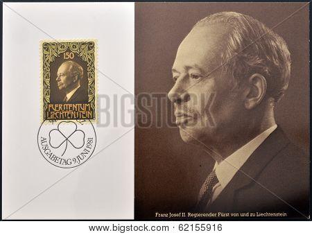 stamp printed in Liechtenstein shows Prince Franz Josef II