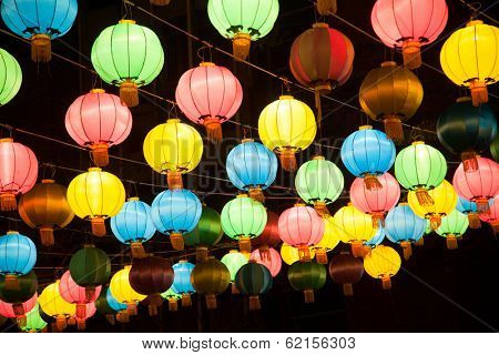 Colorful chines lanterns in Chinatown, Bamgkok