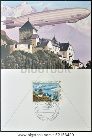 Stamp printed in Liechtenstein shows Zeppelin over Vaduz Castle