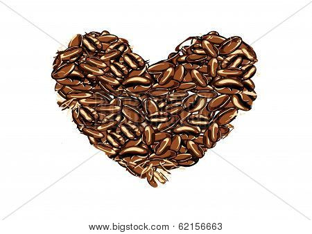 coffee beans, love, heart