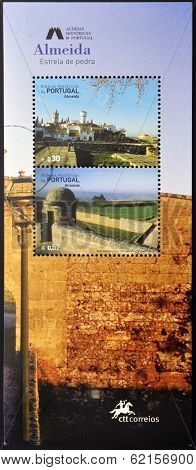 stamp dedicated to the historic villages of Portugal shows Almeida rock star