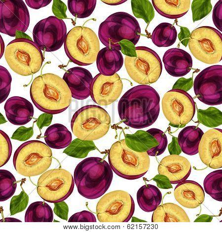 Seamless plum fruit sliced pattern