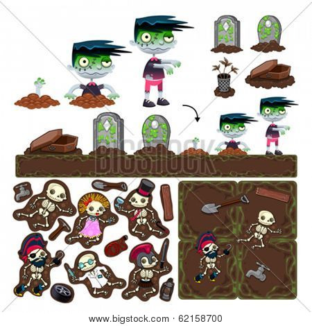 Set of game elements with zombie character, platforms and objects. Vector isolated items.