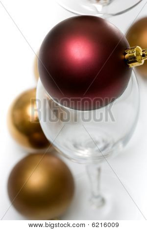 Christmas ornament in champagne glass